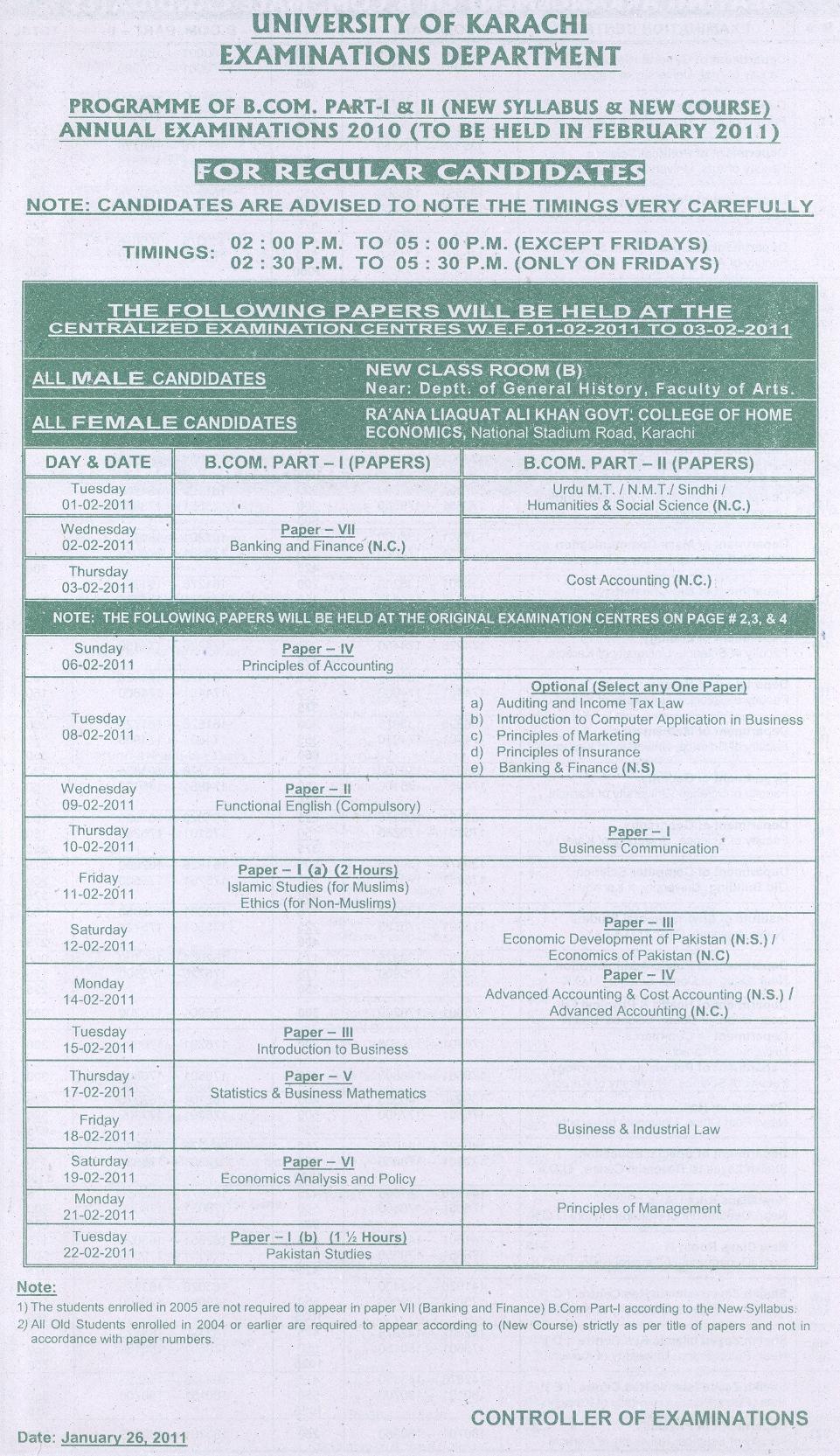 bcom regular date sheet