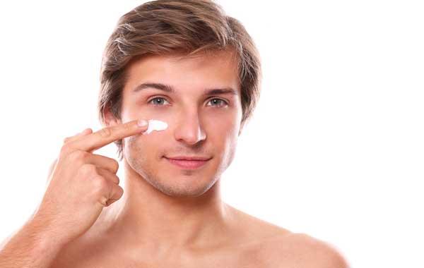 man using cream